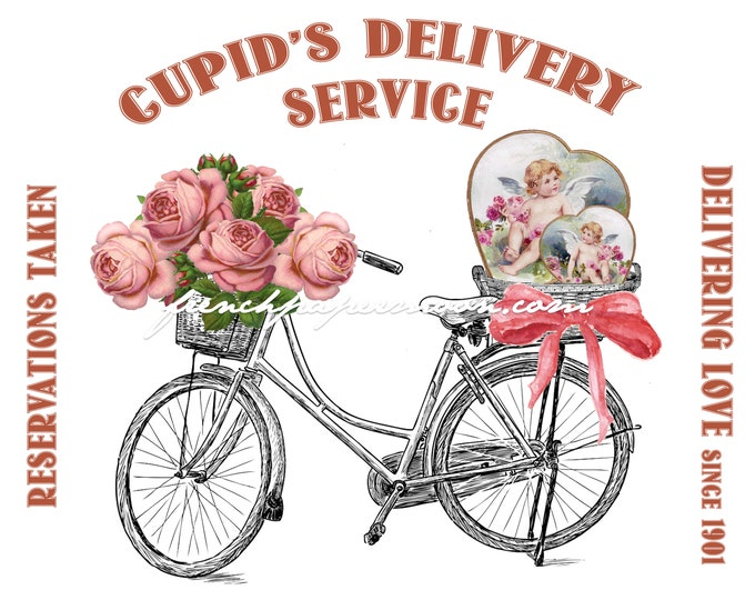 Digital Pink Valentine Bike Valentine Printable Bike Delivery, Cupid Valentine Pillow Crafts, Instant Download, Graphic Transfer Image