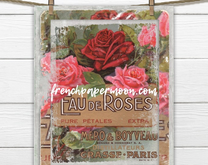 Grungy French Perfume Label Tattered Label with Roses French Pillow Image Iron On Fabric Digital Transfer Graphic JPEG PNG