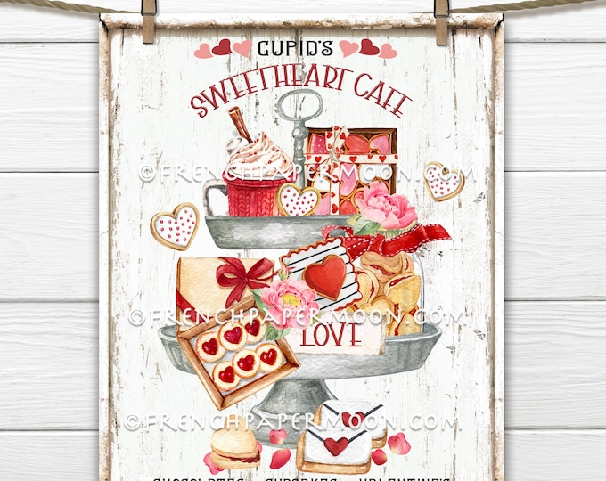 Valentine Confectionary, Valentine Tiered Tray, DIY Valentine Sign, Cookies, Cupid Cafe, Pillow Image, Wreath Decor, Valentine Decor, Wood