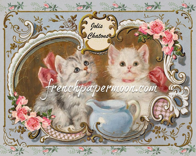 Adorable Shabby Kittens, Victorian Cat Printable, Cat Lover Graphic, Cat Pillow Image, Fabric Transfer, Tiered Tray Graphic, Large Image