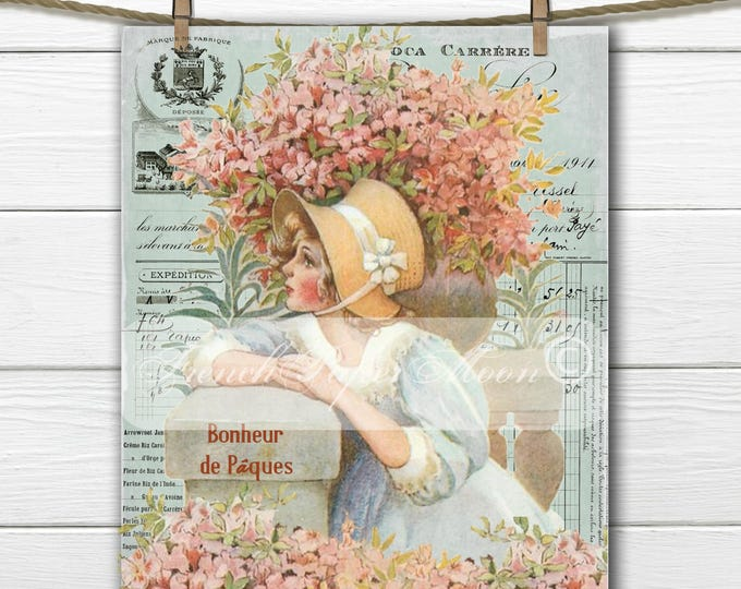 Digital Shabby Victorian Girl, Vintage easter Girl, French Typography, French Pillow Transfer Graphic, Scrapbooking Download