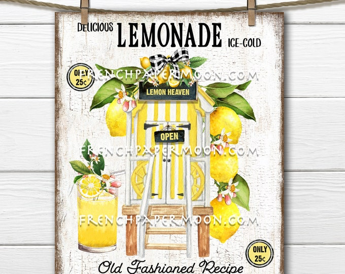 Lemonade Stand, Fresh Squeezed, Farmhouse Lemons, DIY Lemonade Sign, Fabric Transfer, Tiered Tray Decor, Wreath Attachment, PNG, Wood