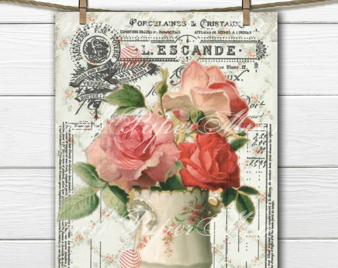 Shabby Vintage Roses Digital Download, French Receipt Collage, French Digital Rose Pillow Graphic Transfer