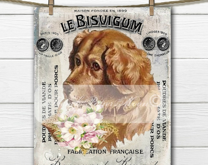 Digital Shabby Vintage Dog, French Dog Biscuit Digital Sheet, Instant Download, French Pillow Transfer Graphic
