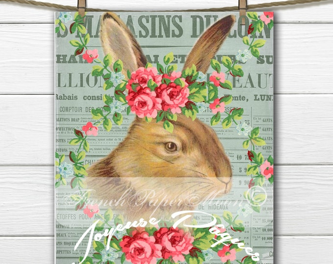 Shabby Vintage Bunny, French Bunny, Flowers, French Easter Pillow Transfer Graphic, Instant Download
