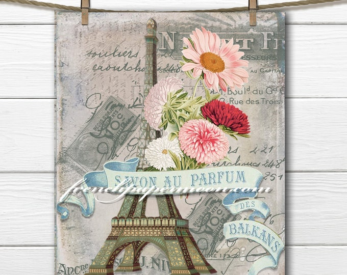 Vintage Shabby Chic Paris Digital, French Perfume, Eiffel Tower, Vintage French Graphics, Fabric Transfer, French Pillow Image, Journal