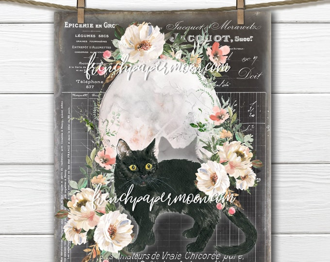 Shabby French Black Cat, Halloween Digital, Harvest Moon, Peonies, French Pillow Graphic, Fabric Transfer, DIY Fall Sign, Sublimation, PNG