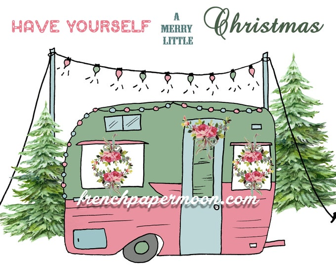 Shabby Pink Christmas Camper Digital Printable, Vintage Christmas Trailer Camper, Retro Christmas Caravan, Instant Download Christmas Pillow