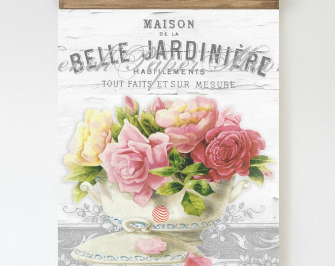 Vintage French Shabby Chic Roses, Shabby Rose Background, French Digital Image, Vintage French Instant Download Graphic Transfer Image