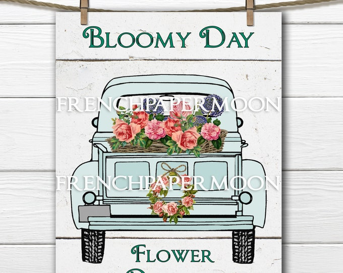 Farm Truck, Pickup, Delivery, Flowers, Flower Farm Digital Graphic, Pillow Image, Decoupage, JPEG, PNG, Shabby Farm-style