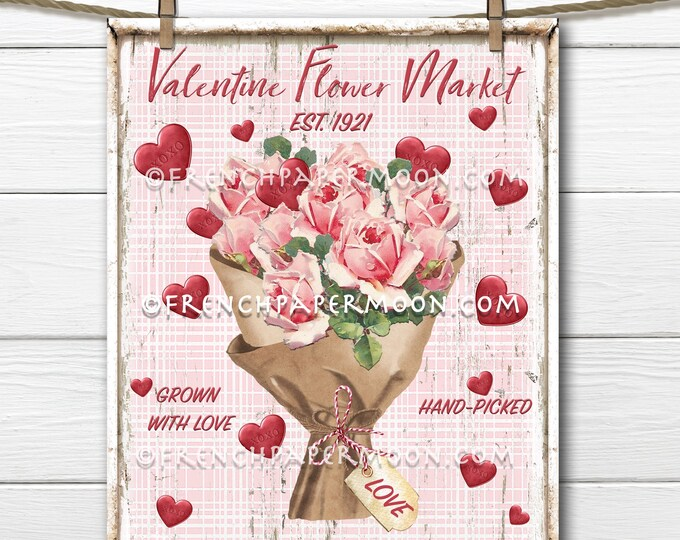 Shabby Pink Valentine Roses, DIY Valentine Sign, Flower Market, Pink Bouquet, Red Hearts, Plaid, Wood, Pillow Image, Wreath Attachment, PNG,