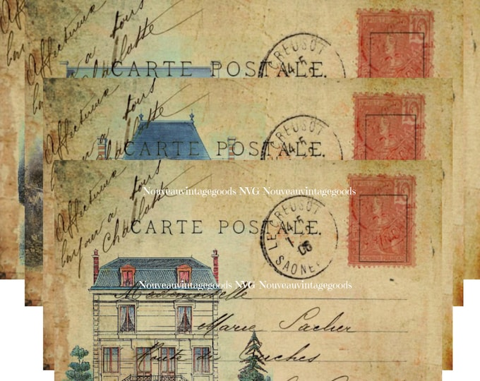 Digital French Chateau, Digital French Carte Postale, Vintage French Postcard Download, French Collage sheet