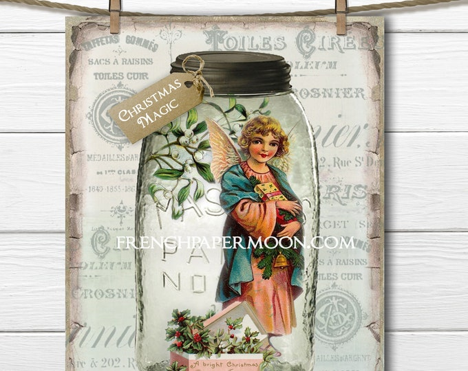Shabby Mason Jar Christmas Printable, Christmas Magic, Vintage Angel, Mistletoe, Christmas Decor, Craft Digital