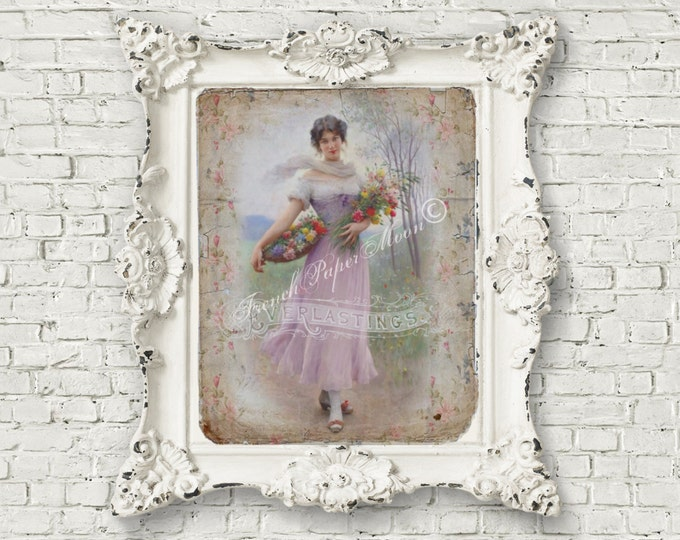 Shabby Victorian Lady Digital, Lavender Lady with Flowers, Instant Download Fabric Transfer Image