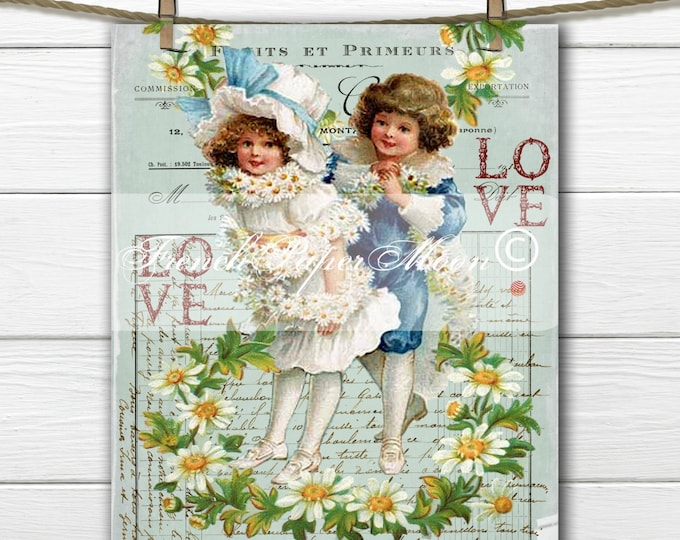 Digital Vintage Valentine, Adorable Boy and Girl with Daisies and French graphics, French Pillow Valentine Transfer Image Download