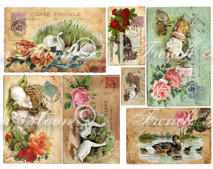 Vintage Digital Farmhouse Animals, Printable French Postcards, Shabby French Animals, Spring Animals, Roses, Instant Download