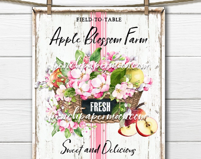 Modern Farmhouse Apples, Apple Blossom, Fruit, Digital, DIY Apple Sign, Fabric Transfer, Pillow Image, Wreath Decor, Wood, PNG, Tiered Tray