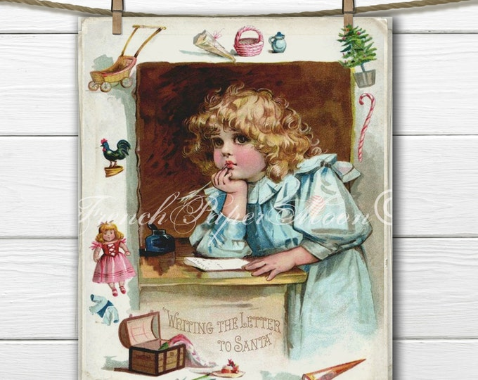 Letter to Santa, Digital Download, Victorian Girl, Christmas Printable, Fabric Transfer, Frances Brundage, Pillow Image, Xmas Crafts