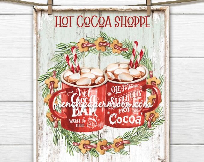 Hot Chocolate Christmas Sign Digital, Christmas CookiesRed Mugs, Winter Drinks, DIY Xmas Plaque, Pillow Image, Xmas Wall Decor, Transparent
