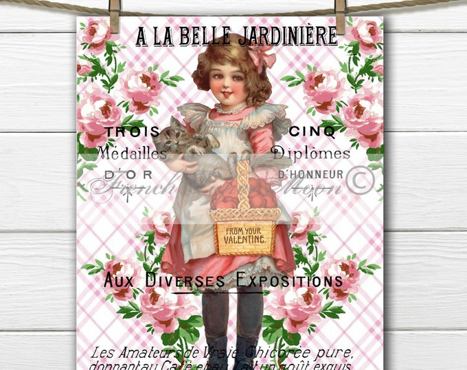 Shabby Chic Vintage Valentine Girl with Cat, French Valentine, Cat Valentine Transfer, Valentine Digital Pillow Image