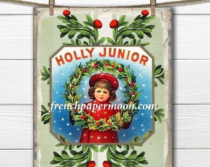 Vintage Christmas Holly Girl, Holly Wreath, Xmas Ad, Printable Transfer Graphic, Pillow Image, Instant Download, Large Size