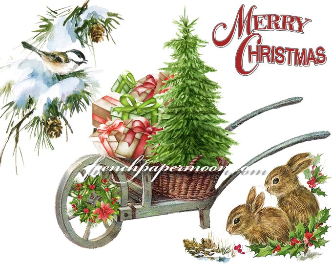 Digital Shabby Christmas Bunnies, Birds, Presents, Merry Christmas, Christmas Pillow Graphic Transfer Image, Crafts