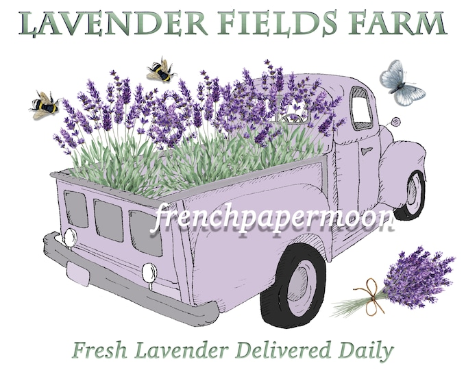 Digital Hand-drawn Vintage Shabby Farm Truck with Lavender  Large Image Graphic Transfer Farm-style Pillow Image Crafts