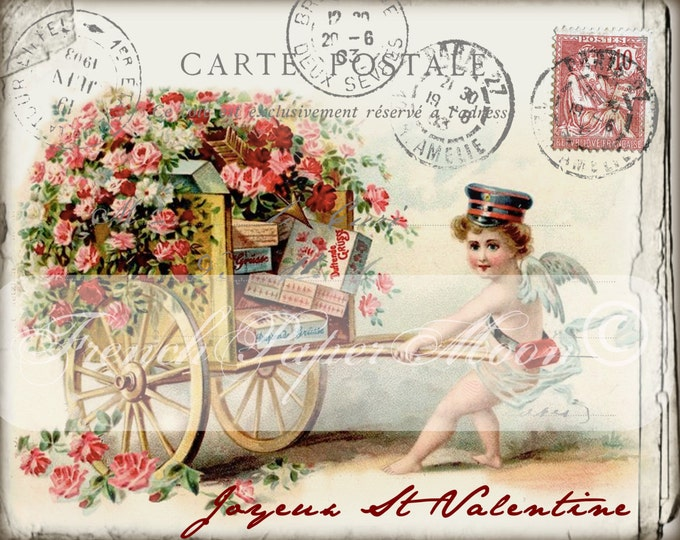Vintage Shabby Digital Valentine, French Valentine Postcard, Boy with Cart, Victorian Valentine, French Valentine Transfer Graphic Printable