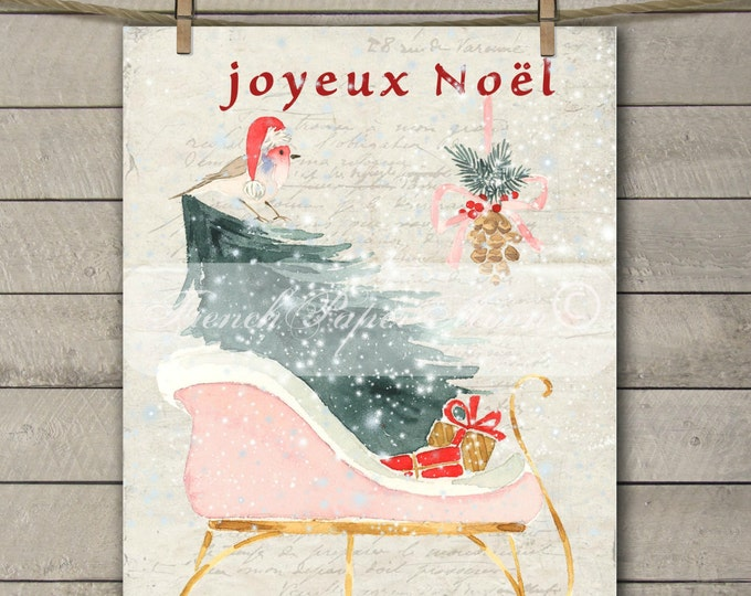 Digital Christmas Sleigh, Snow, Sled, French Graphic Xmas, Watercolor Christmas Pillow Digital Transfer Graphic