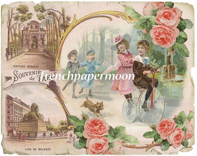 Altered Digital Paris Postcard, Souvenir de paris, Children on Bike, Shabby French Collage Sheet, Large Image Transfer
