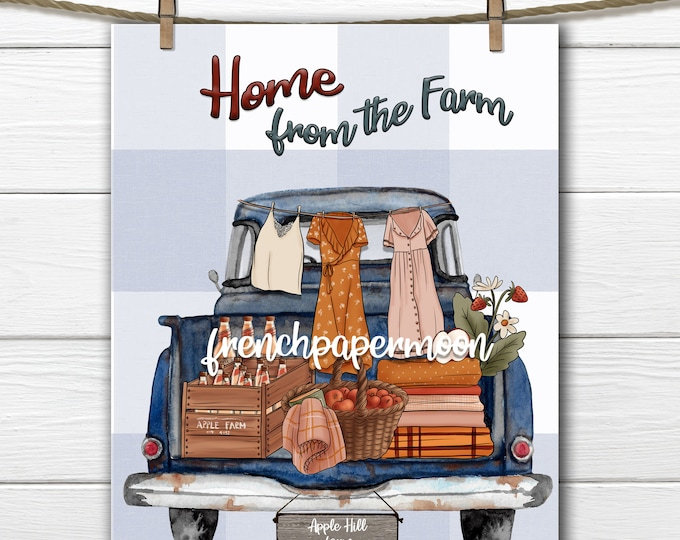Vintage Truck, Farm Truck, Vintage Apple Picking, Apple Farm, Farm Sign, Pillow Image, Digital Printable, JPEG PNG, Fabric Transfer