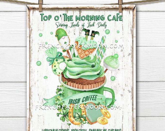 St. Patricks Day Cafe, Irish Coffee, DIY Irish Sign, Leprechaun, St. Patricks Sweets, Pillow Image, Wreath Attachment, Printable Sign, PNG