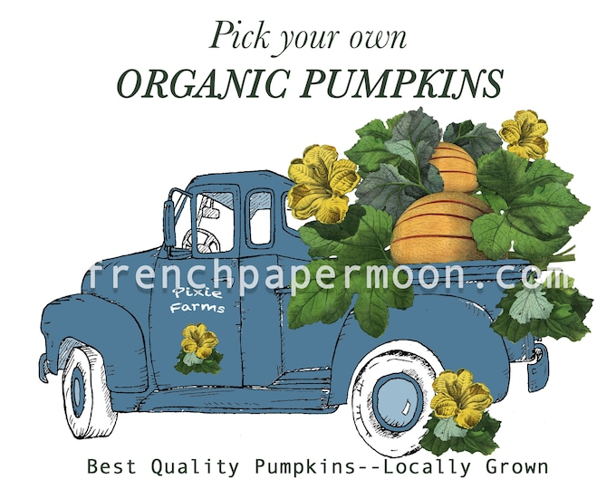 Vintage Digital Truck with Pumpkins, Large Instant Digital Download Printable, Farm Style Art Graphic Transfer Image