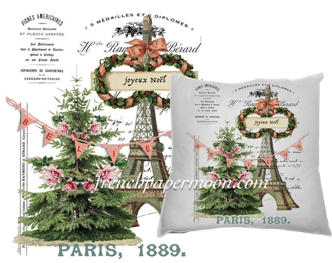 Digital Believe in Christmas Graphic, Shabby Roses, French Typography, Christmas Pillow, Printable Graphic Transfer Image 0116