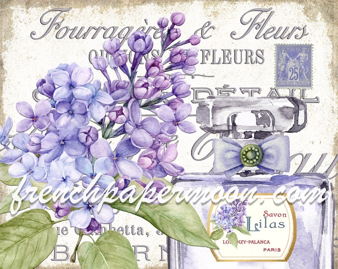Shabby French Lilac Digital, Antique Perfume Graphic, Fabric Transfer, Wall Decor, Tiered Tray, Bathroom, Bedroom Printable, Large Image