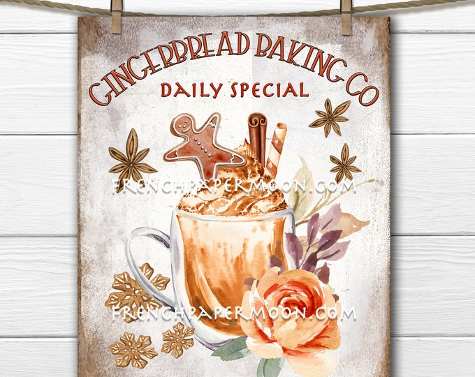 Digital Christmas Drink, Printable Gingerbread Sign, Winter Drink Graphic, Xmas Mug, Pillow Image, Transparent, Crafts, Fabric Transfer, PNG