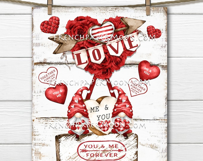 Valentine Gnomes, DIY Gnome Sign, Hot Air Balloon, Roses, Wood, PNG, Pillow Image, Wreath Decor, Wall Decor, Fun Valentine Sign, PNG