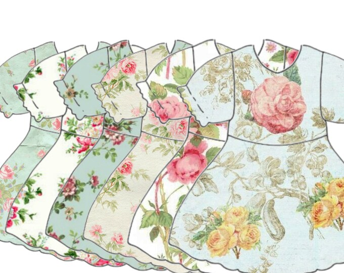 VINTAGE DIGITAL DRESS, Baby Girl Dress Clipart, Babydoll Dress Collage Sheet, Scrapbook Supply, Printable Download file