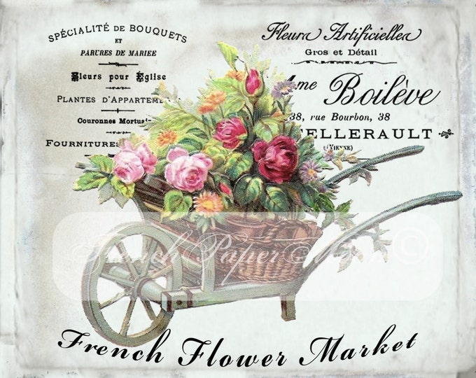 Shabby Chic French Flower Market, Wheelbarrow, Flowers, Victorian, French Pillow Transfer Image, Digital French Pillow Graphic