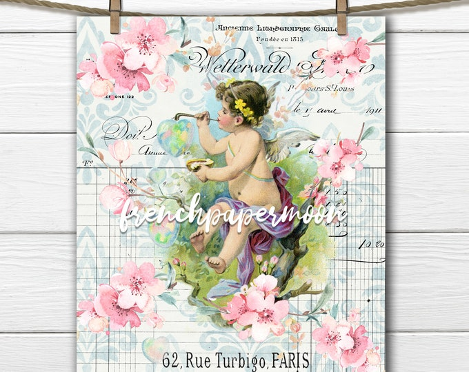 Ephemera French Cherub with Flowers - Clipart Illustration - French Graphic Receipt- Instant Digital Download Printable - Sakura Blossom
