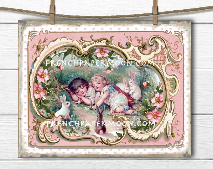 Shabby Chic Victorian Children, Sleeping Children, Easter Bunnies, French Frame, Pillow Image, Decoupage, Wreath Decor, Fabric Transfer, PNG