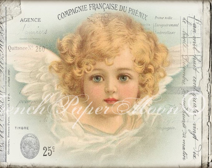 Shabby Vintage Cherub, French Angel Digital, Victorian Angel, French Collage Angel, French Fabric Transfer