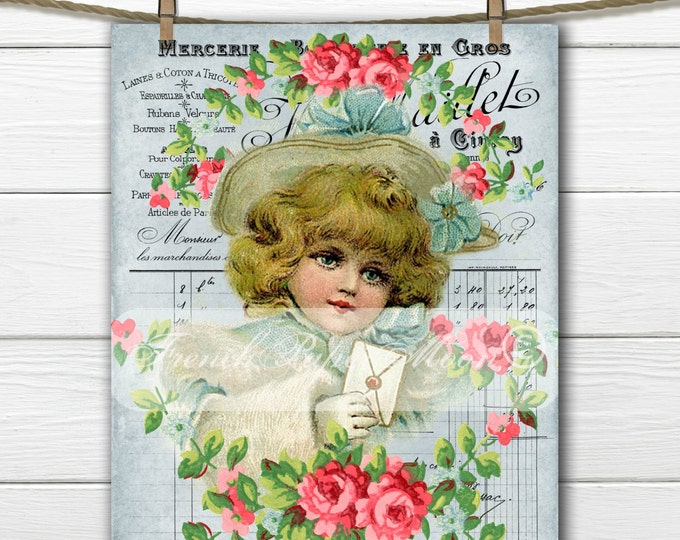 Shabby Victorian Girl with Letter, French Graphics, Shabby Chic, French Pillow Image, Instant Download Graphic Transfer