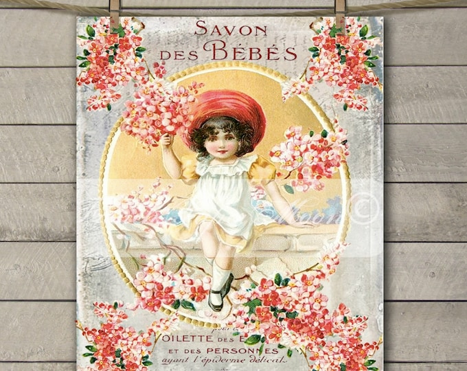 Vintage Shabby French Victorian Girl, Cherry Blossom, French Soap Label, French Pillow Graphic Transfer Printable