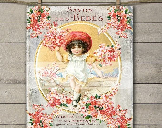 Vintage Shabby French Victorian Girl, Cherry Blossoms, French Soap Label, French Pillow Image. Graphic Transfer Printable