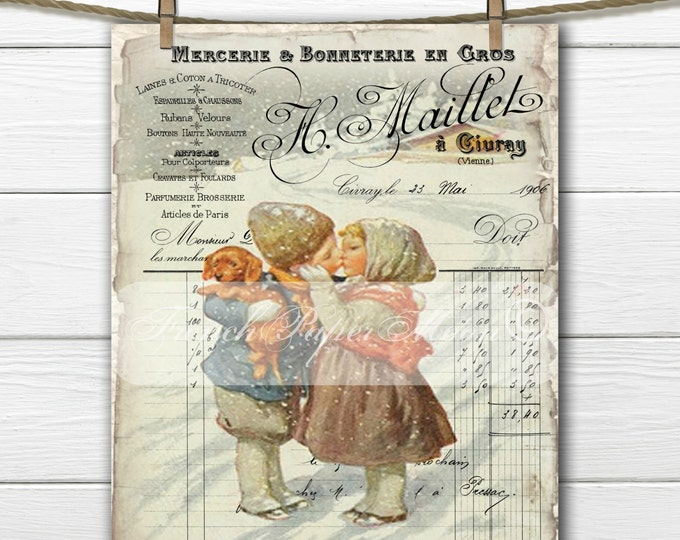 Adorable Victorian Children French Digital, Children Kissing, Snow, French Fabric Transfer, Instant Download
