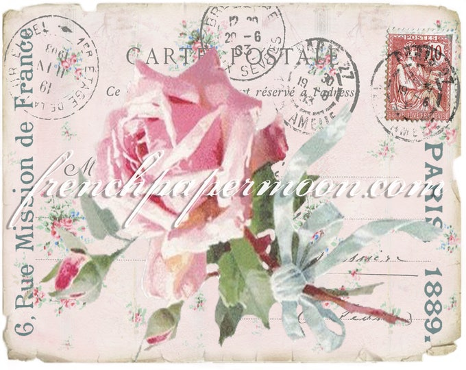 Shabby Rose Digital French Postcard, Carte Postale, French Transfer Graphic, Pillow Image, Iron On Fabric
