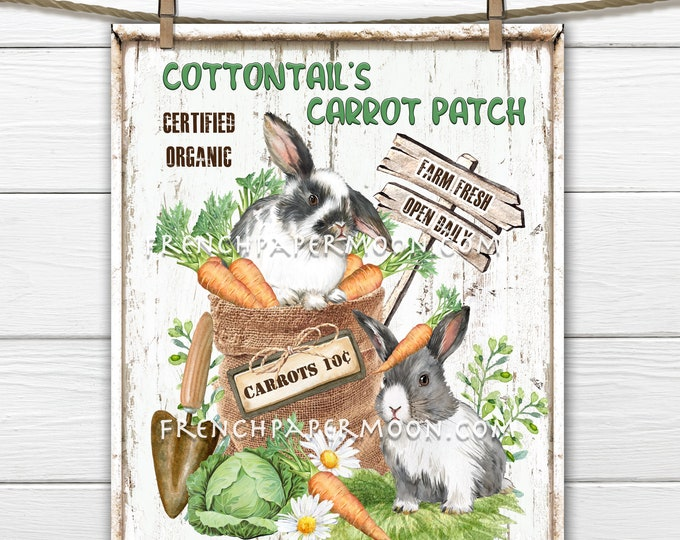 Easter Bunny, Carrot Patch, Cottontail, Farmhouse DIY Easter Sign, Bag of Carrots, Rabbits, Spring Garden, Pillow Image, Wreath Attachment