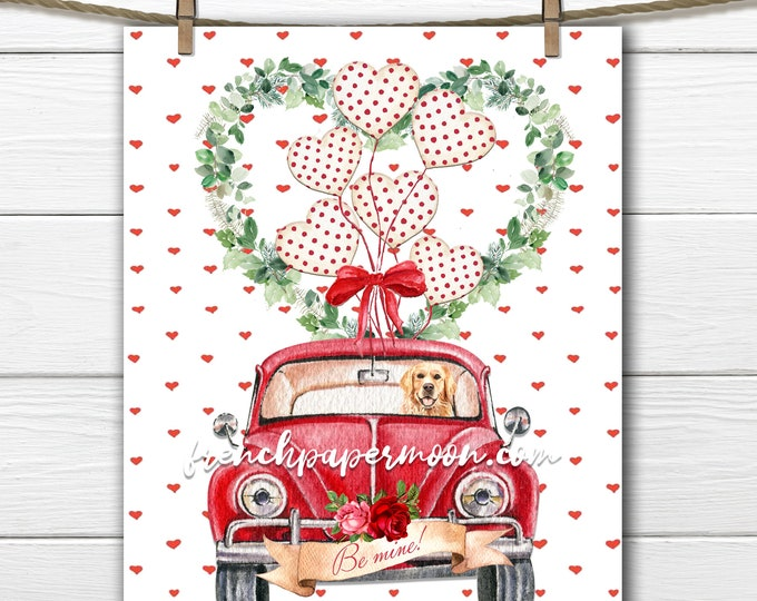 Digital Valentine Car, Valentine Golden retriever, Heart Balloons, Be Mine, Love Pillow Image, Sublimation, Craft Supply, Valentine Transfer