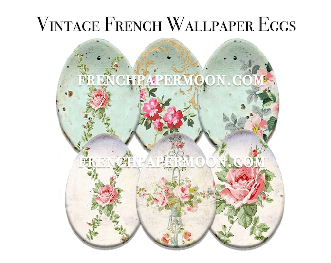 Shabby Wallpaper Eggs, Printable Vintage French Egg Clipart, Rose Collage Eggs, Easter Crafts, Easter Decor, Easter Gifts, Decoupage